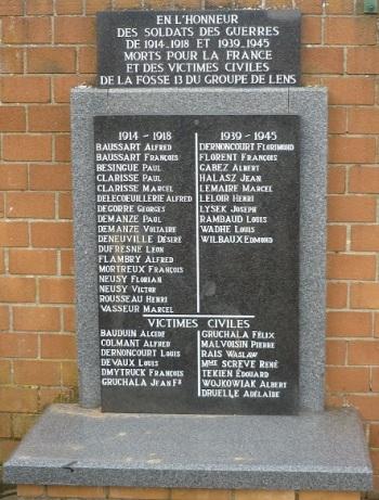 Plaque commémorative Haisnes (62)