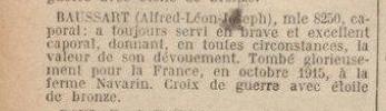 BAUSSART Alfred. Croix de guerre avec étoile de bronze au j.o.