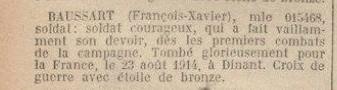BAUSSART François. Croix de guerre avec étoile de bronze au j.o.