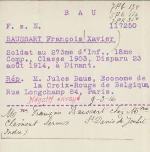 François BAUSSART, fiche de la Croix-Rouge française