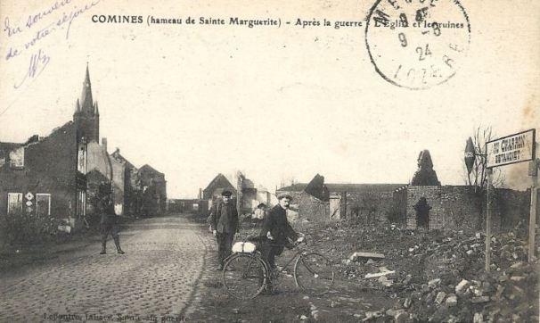 Hameau de Sainte Marguerite, Comines, après guerre. (Au charron estaminet, source Delcampe)