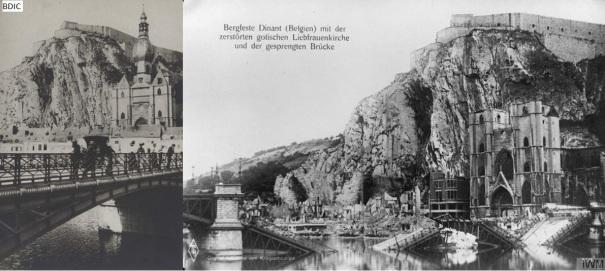 Dinant, Belgique, avant-après 1GM