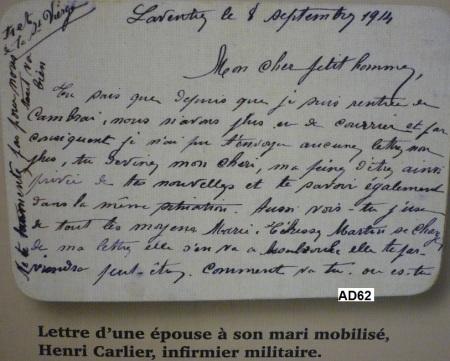Carte d'Aline Ludivine FOUTREIN à son époux Henri Désiré CARLIER, 1GM