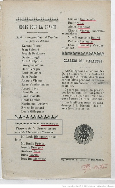 Estaires (59) Victimes civiles d'octobre 1914
