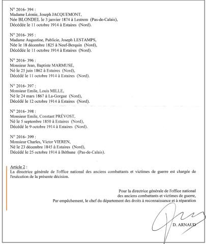 Désision (suite) du 6 décembre 2016, d'attribuer la mention « Mort pour la France » à 6 civils, à Estaires en octobre 1914