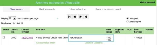 VULLIEZ-SERMET Naturalisation