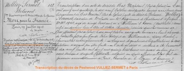 VULLIEZ-SERMET Mort pour la France 1914