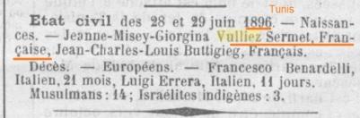 VULLIEZ-SERMET 1896 Tunisie
