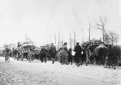 Colonne de réfugiés lors de la Bataille de la Lys Avril 1918