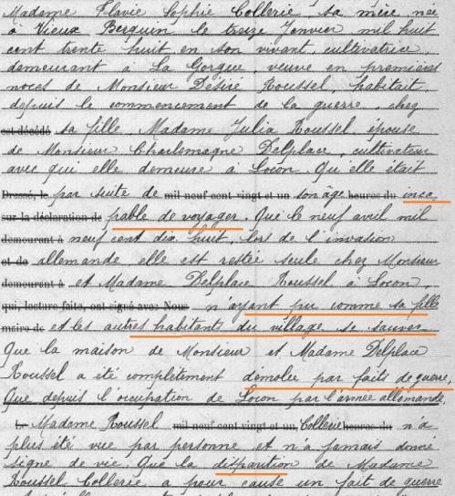 Disparition de Flavie COLLERIE Locon avril 1918