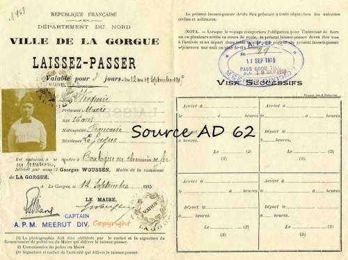 Laissez-Passer, ville de La Gorgue, 1915