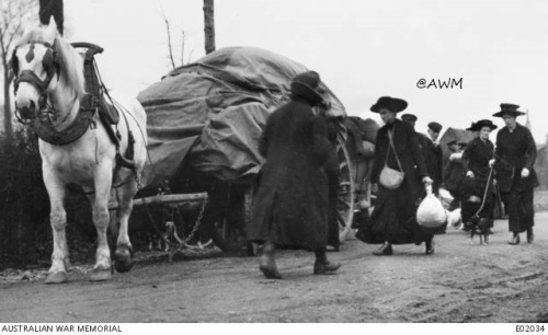 Exode sur les routes de Flandres avril 1918